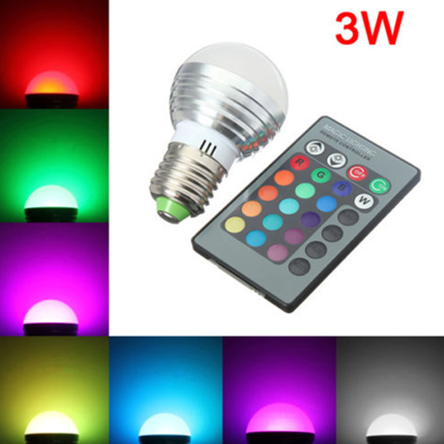 Dimmable E27 LED Bulb 16 Colors Change 3W 110V 220V 230V  Magic RGB LED Lamp Light RGB Bulb 24key IR Remote Control Lampada