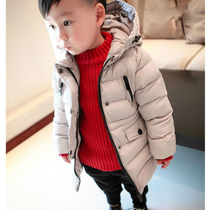 2017 Moda Boys Giyim Kış Kabanlar Sıcak Palto Aşağı Yastıklı Ceketler Casual Aktif Parkas Kapşonlu Çocuk Giyim Uzun Bölüm