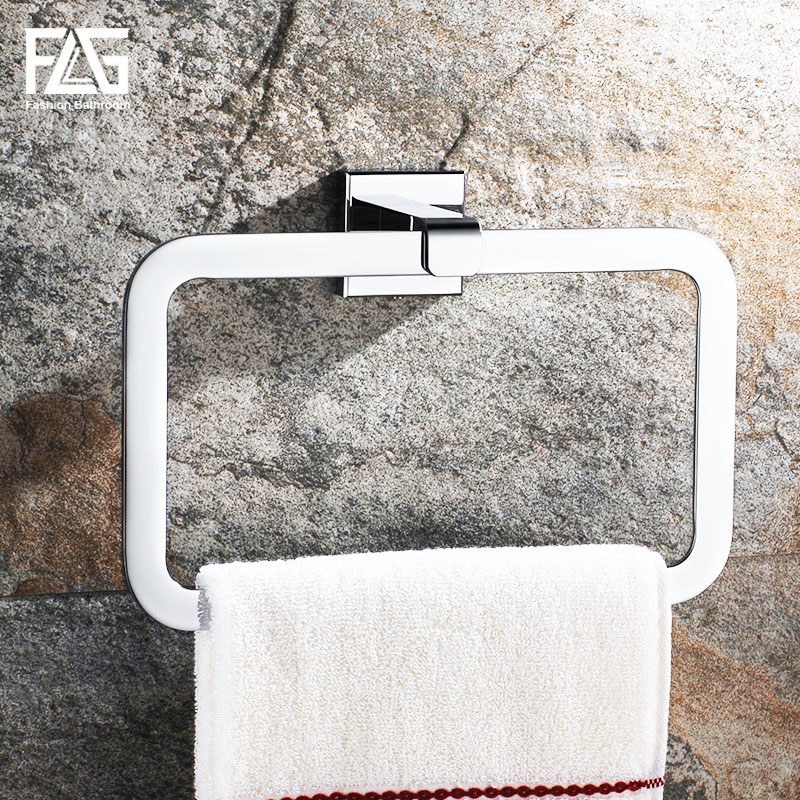 Buy flg towel ring square wall mounted - Chrome and brass bathroom accessories ...