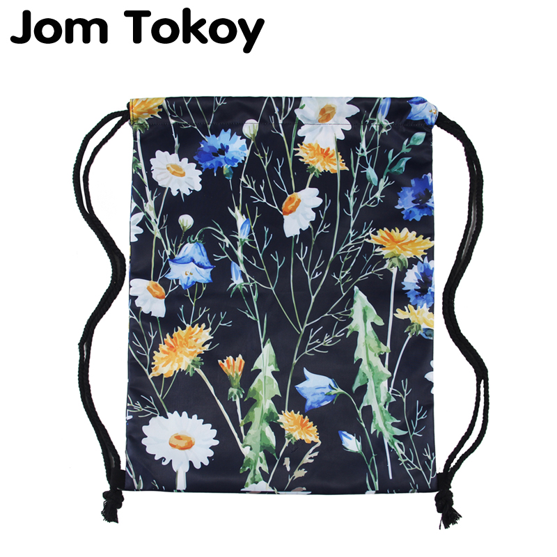 Jom Tokoy 3D Printing Drawstring Pocket Waterproof Schoolbags Flowers Pattern Women Drawstring Bag