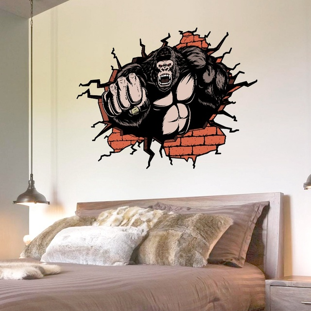 Aliexpresscom Buy Orangutan King Kong PVC DIY D Effect Wall - 3d effect wall decals