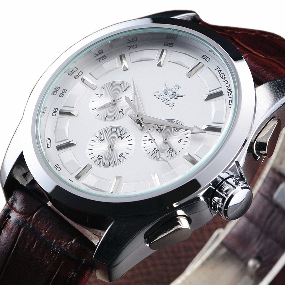 2018 Hot Sale Sewor Fashion Date Calendar Multi Function Leather Strap Men Gift Mechanical Automatic Self-Wind Wrist Watch 8275 hot sale famous bp brand princess butterfly lady lucky clover watch austrian crystal automatic self wind wrist watch