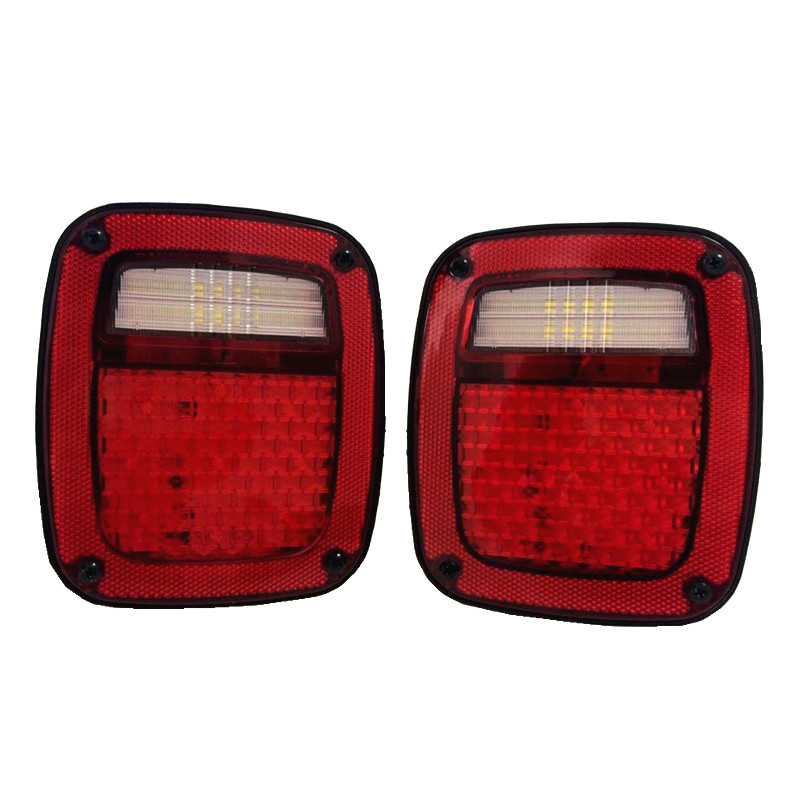 Pair Led Tail Lights with Turning signal, Reverse, Brake ,Runing light, License Plate Light For Jeep Wrangler TJ 98-06 Year kunfine pair of car tail light assembly for toyota corolla 2014 2015 2016 led brake light with turning signal light