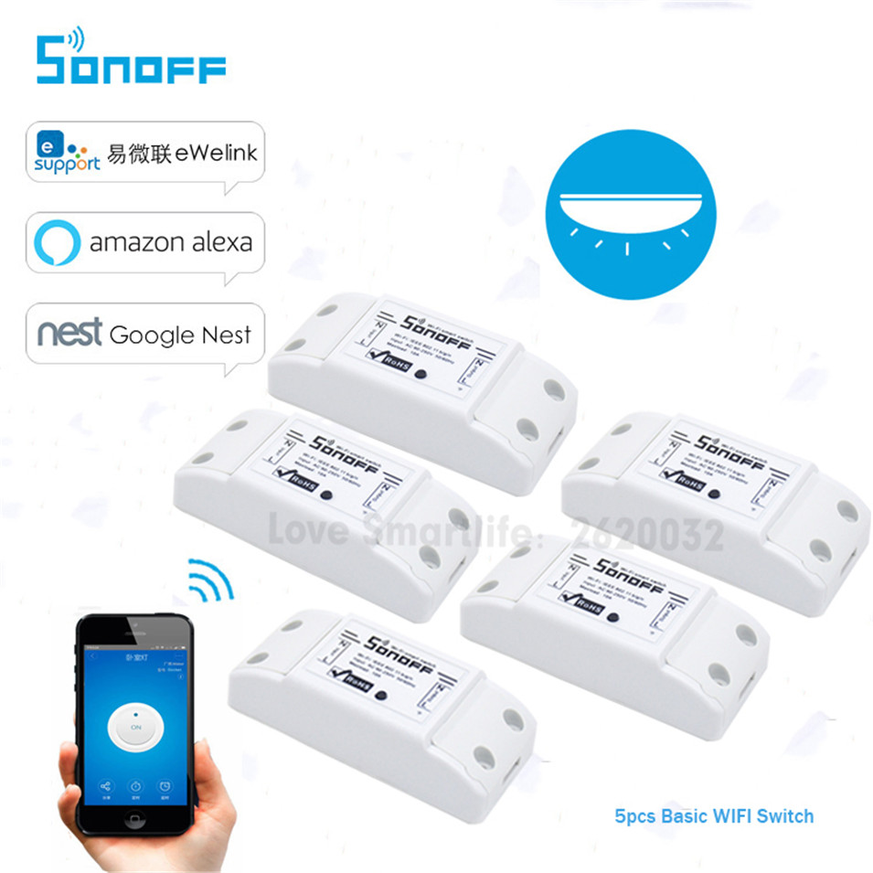 5PCS Itead Sonoff Smart Wifi Switch DIY Smart Wireless Remote Switch Wifi Light Switch Smart Home Controller work with Alexa цена