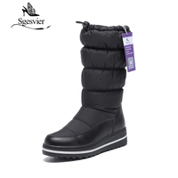 SGESVIER Waterproof Snow Boots Russia Women Winter Warm Boots Plush Black Booties Round Toe Stretch Opening
