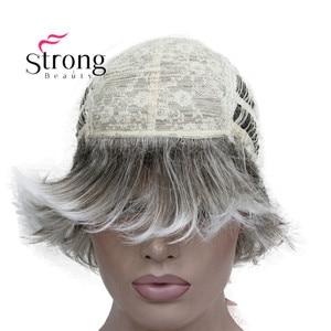 Image 5 - StrongBeauty Ngắn Mềm Lông Lớp Bạc Phối Mũ Lưỡi Trai Cổ Điển Đầy Đủ Tổng Hợp Tóc Giả nữ Tóc Giả Tóc Vàng MÀU SẮC LỰA CHỌN