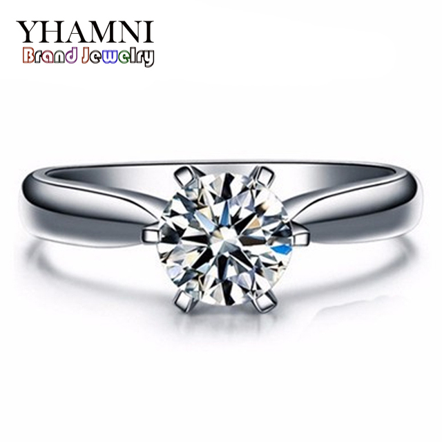 Big 95% OFF!!! New Fashion White Gold Filled Wedding Rings For Women Brand Luxury 1 Carat CZ Diamant Gold Rings Jewelry YH021