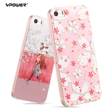 For iPhone 5S Se Case Covers Vpower 3D Relief Transparent Soft Silicone Cat Flower Print Phone Cases For Apple iPhone 5 5S SE 3d cherry ice cream silicone case mobile accessory for iphone se 5s 5 rose
