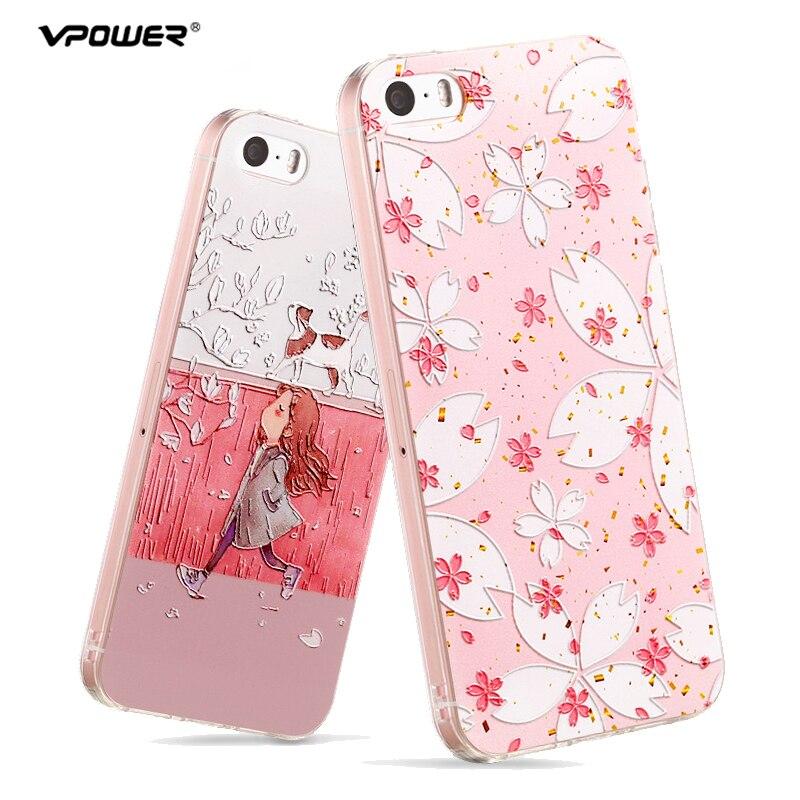 4ee62fe0819 Para iPhone 5S Se funda Vpower 3D alivio transparente de silicona suave  gato flor teléfono casos para Apple iPhone 5 5S SE