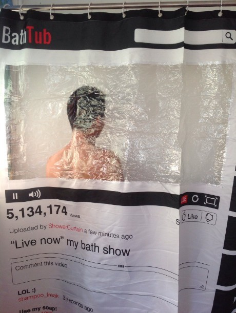180180cm Facebook Youtube Online Social Vedio Transparent Window Waterproof Polyester Bathtub Shower Curtain Sexy View Cortinas