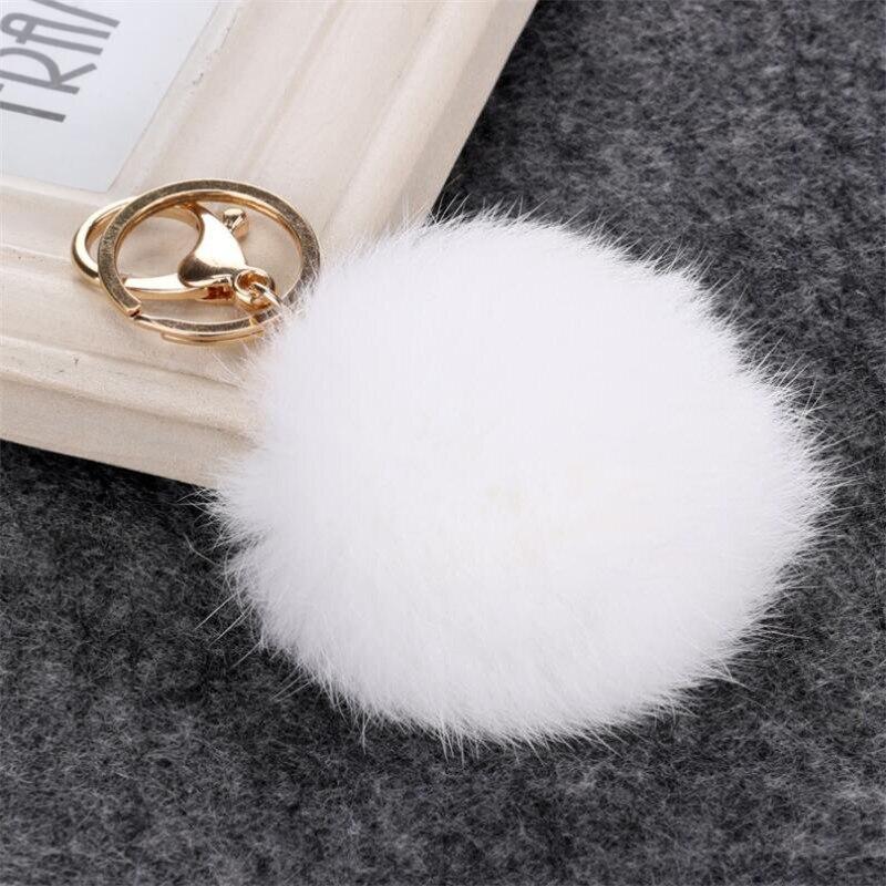 2016 blanco nuevo/Negro/Rosa bolso de piel roja llavero Rex genuino llavero de bola de piel de conejo fibra Llaves marca de bolsos llavero con abalorios