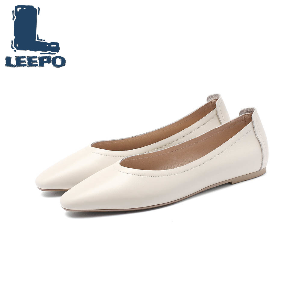 LEEPO Flat Shoes Women Made of Genuine Leather Flats Ladies Solid Pointed Toe Off White Woman