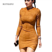 RUTIGEFU Hot Sale Sexy Women Clothing Long Sleeved Dress 2017 Autumn And Winter Suede Tight Package