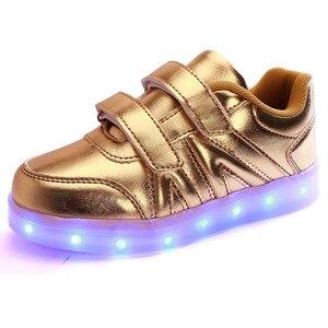 Image 4 - حجم 25 37 USB الأطفال أحذية خفيفة الاطفال مضيئة أحذية رياضية للبنين والبنات Led أحذية Krasovki مع الخلفية مضاءة الأحذية