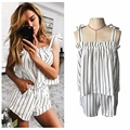 Summer 2017 Women 2 Pieces Sets Striped Adjustable Strap Tops + Elastic Waist Shorts Casual Plus Size T72802