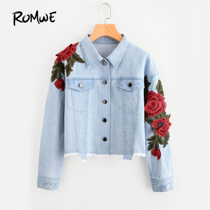 ROMWE 3D Rose Patch Raw Hem Denim Jacket Blue Lapel Cute ...