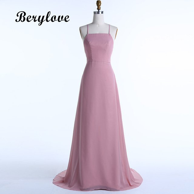 BeryLove Sexy Dirty Pink Evening Dresses 2018 Spaghetti Straps Backless  Evening Gowns Formal Dresses Special Occasion Dress 5bb4ae2996fc