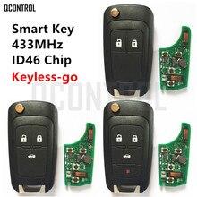 QCONTROL clé télécommande intelligente pour voiture Chevrolet, transpondeur ID46, 433MHz, accès sans clé, confortable