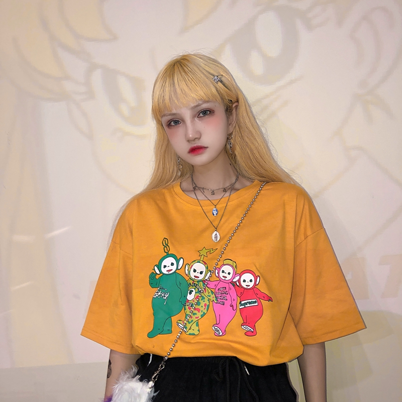 Women Funny Teletubbies T Shirt Summer Top Cotton Printed Harajuku Korean Clothes Oversized Camiseta Mujer Tee Shirt Femme Tops