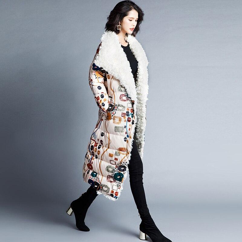 Femmes Manteau Fourrure Ynzzu Agneau Épaissir Blanc Imprimer Veste Canard Col Duvet Long 90 Style Multi Élégant Femelle De 2018 Chaud D'hiver O744 OO6axrtq