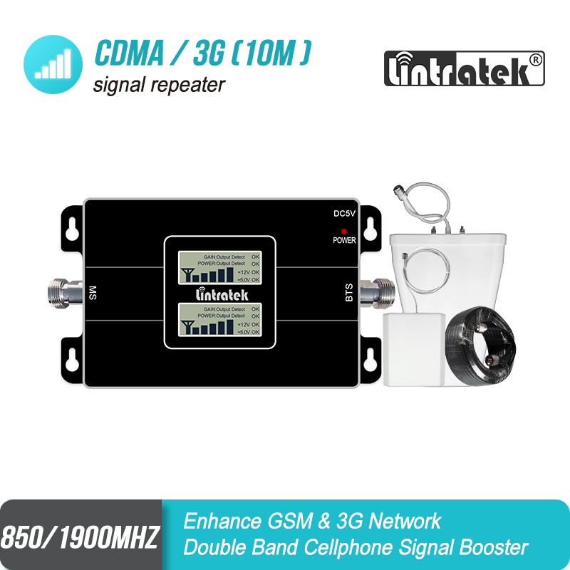 Lintratek LCD Display GSM Amplifier 850 3G 1900 65dB Gain Cellular Signal Repeater 850 1900 Dual