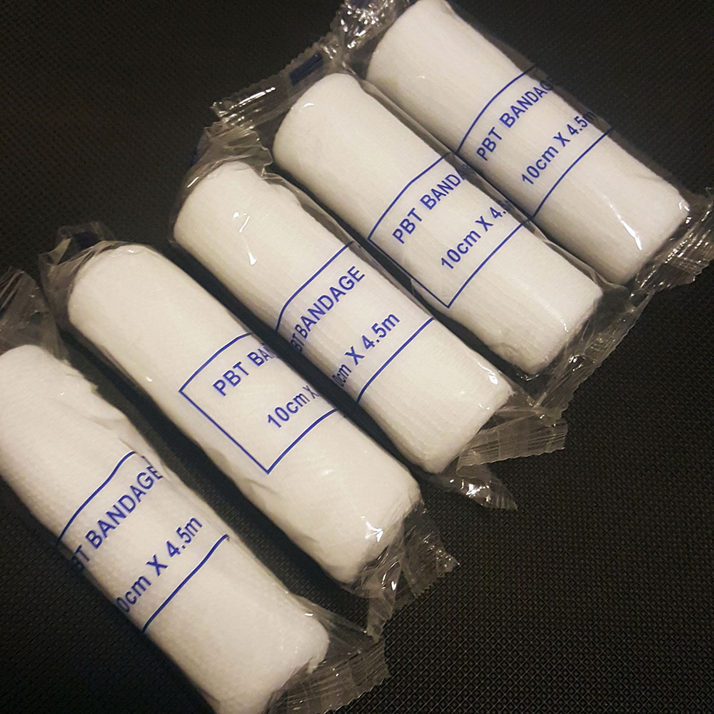 5 Rolls/lot 10cmx4.5m PBT Elastic Bandage First Aid Kit Gauze Roll Wound Dressing Medical Nursing Emergency Care Bandage