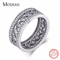 Modian New Style Classic Real 925 Sterling Silver Square Ring Fashion Wedding Luxury Jewelry Sparkling CZ
