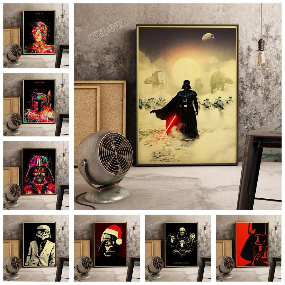 Star Wars Darth Vader and Soldier Retro Poster Classic Movie Painting Unique Star Wars Collection canvas painting E250