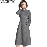 New Brand 2019 Autumn Vintage Houndstooth Wool Coat Women Slim Single Button Long Jackets Female Overcaot casaco feminino LX215
