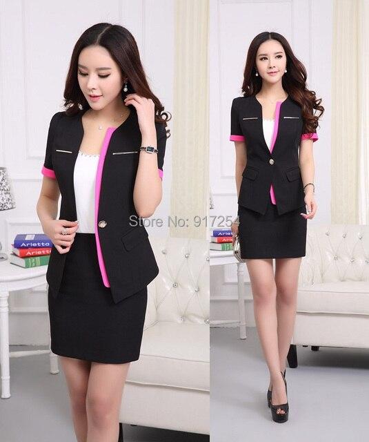 Plus Size Elegant Black Uniform Style Short Sleeve 2015 Summer Office Work Suits Jackets And Skirt Blazers Set For Ladies