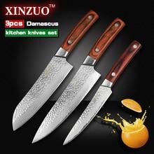 XINZUO 3 pcs Kitchen knives set Japanese Damascus kitchen knife surper sharp chef knife santoku Color wood handle free shipping