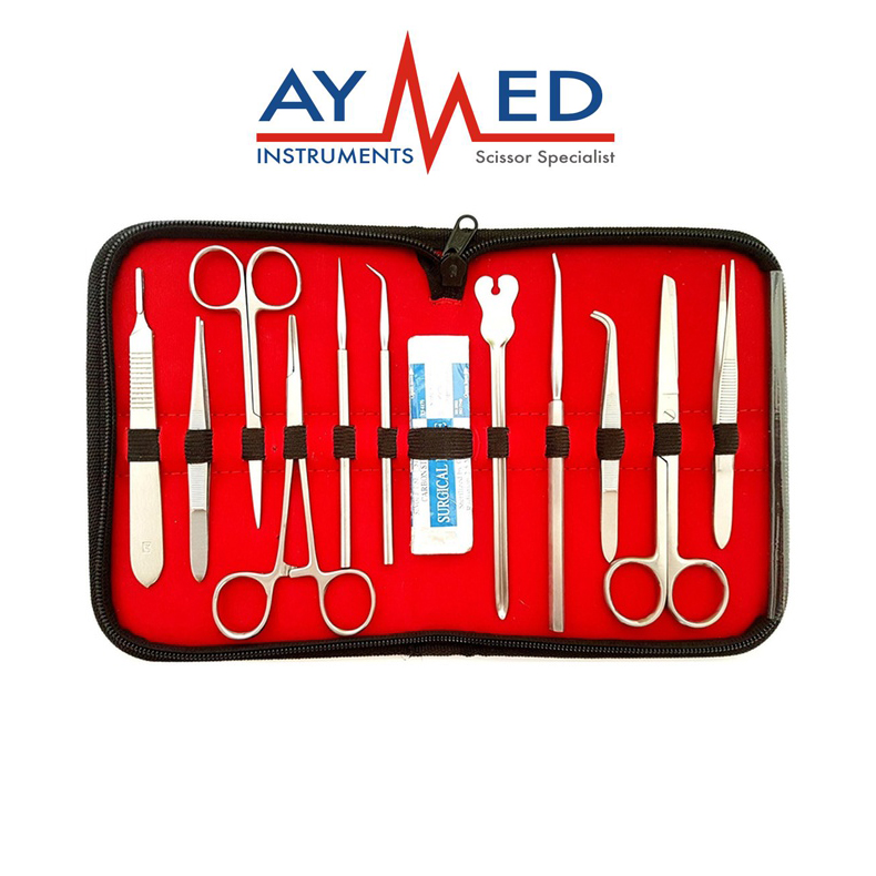 где купить surgical instruments -12 pieces / 5 sets of dissection instruments kit - lab medical kit student instruments дешево