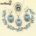 New Style Superior 925 Sterling Silver Women Jewelry Set Blue Garnet imitation Sapphire Earrings Ring Necklace Pendant Bracelet