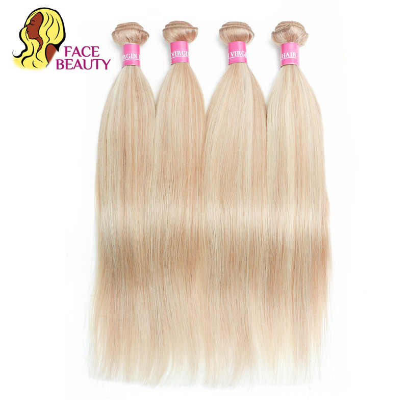 Facebeauty Malaysian Straight Human Hair Weave 1/3/4 Bundles 2 Tone P27/613 Highlight Blonde Piano Color Remy Hair Can Be Dyed