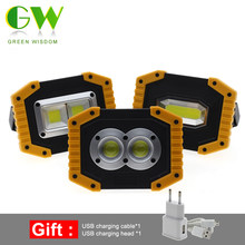LED Portable Spotlight 20W Led Work Light Rechargeable 18650 Or AA Battery Outdoor COB Flood Lights Lamp For Camping Flashlight(China)