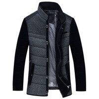 Contrast color patchwork smart business cotton parkas coats men stand collar single breasted zipper overcoat plus size M 5XL