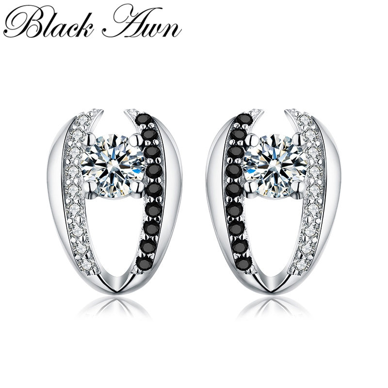 [BLACK AWN] Genuine 925 Sterling Silver Jewelry Cute Engagement Stud Earrings For Women T072