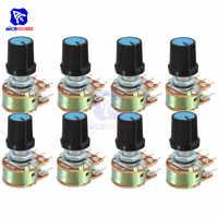 5 unids/lote potenciómetro resistencia de 1K 2K 5K 10K 20K 50K 100K 500K Ohm 6 Pin conicidad lineal potenciómetro giratorio para Arduino con tapa