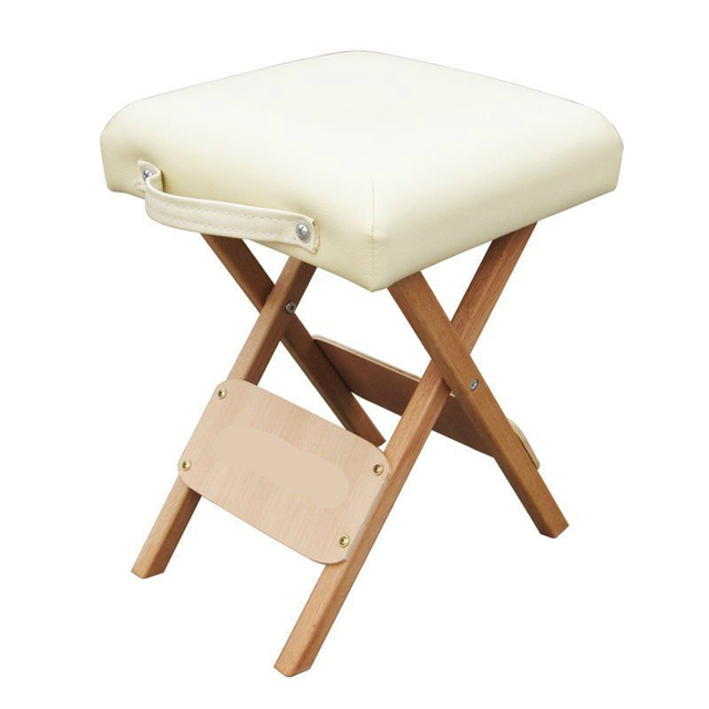 Foldable Wooden Simple Stool Portable Cosmetology Seat Household Soft Small Chair Outdoor Camping Fixed Technician