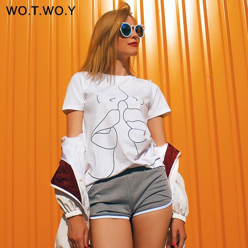 Lábios WOTWOY 2018 Tumblr T Shirt Mulheres Verão O Pescoço Casual Impressão Tops Mulheres Algodão de Manga Curta Tshirt Engraçado Harajuku Feminino