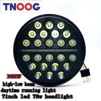 TNOOG 7inch For Lada 4x4 Urban Niva 78w Round LED Headlight High Low Beam Auto Headlight