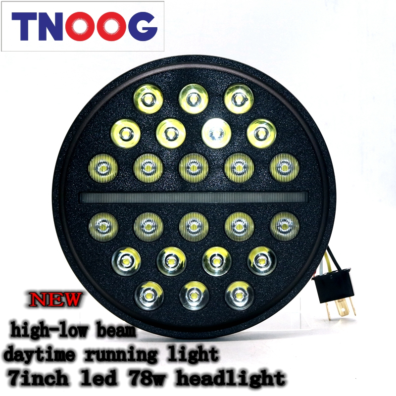 TNOOG 7inch For Lada 4x4 urban Niva 78w Round LED Headlight High/Low beam Auto Headlight With White DRL For Jeep Wrangler JK TJ 2pcs new design 7inch 78w hi lo beam headlamp 7 led headlight for wrangler round 78w led headlights with drl