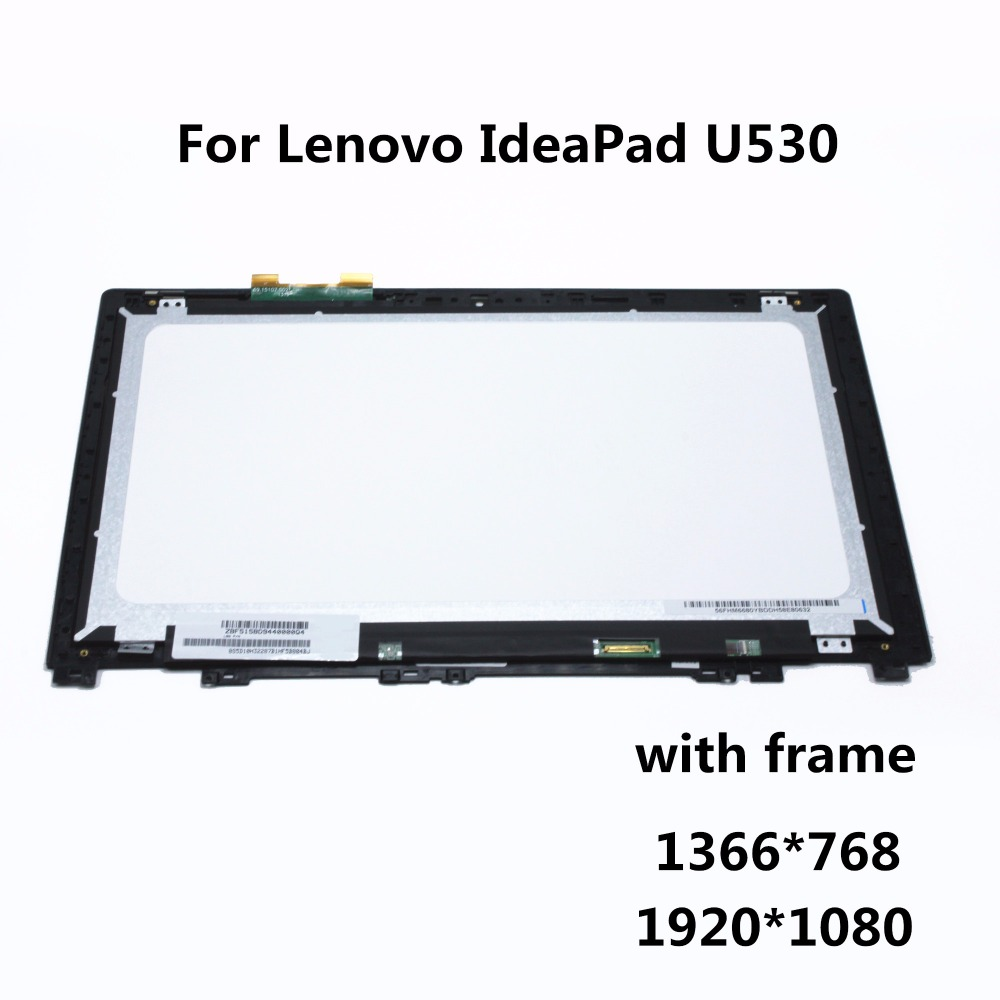 15.6 Laptop LCD Assembly with Frame For Lenovo IdeaPad U530 LCD Display Touch Screen Digitizer Replacement Repair Panel Part touch screen lcd display for bluboo maya max 6 0 inch touch panel digitizer assembly replacement accessories repair tools