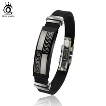 ORSA Hot Sale Titanium Steel Silicone Black Bracelet Fashion Style Great Wall Design Men Bracelet OTB12
