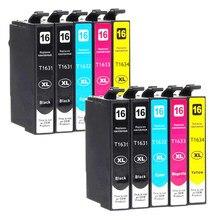 10 Pack Cartucho de Tinta Compatível para Epson 16XL 16 1631 1632 1633 1634 com XP-320 XP-420 XP-424 WF-2630 WF-2650 WF-2660