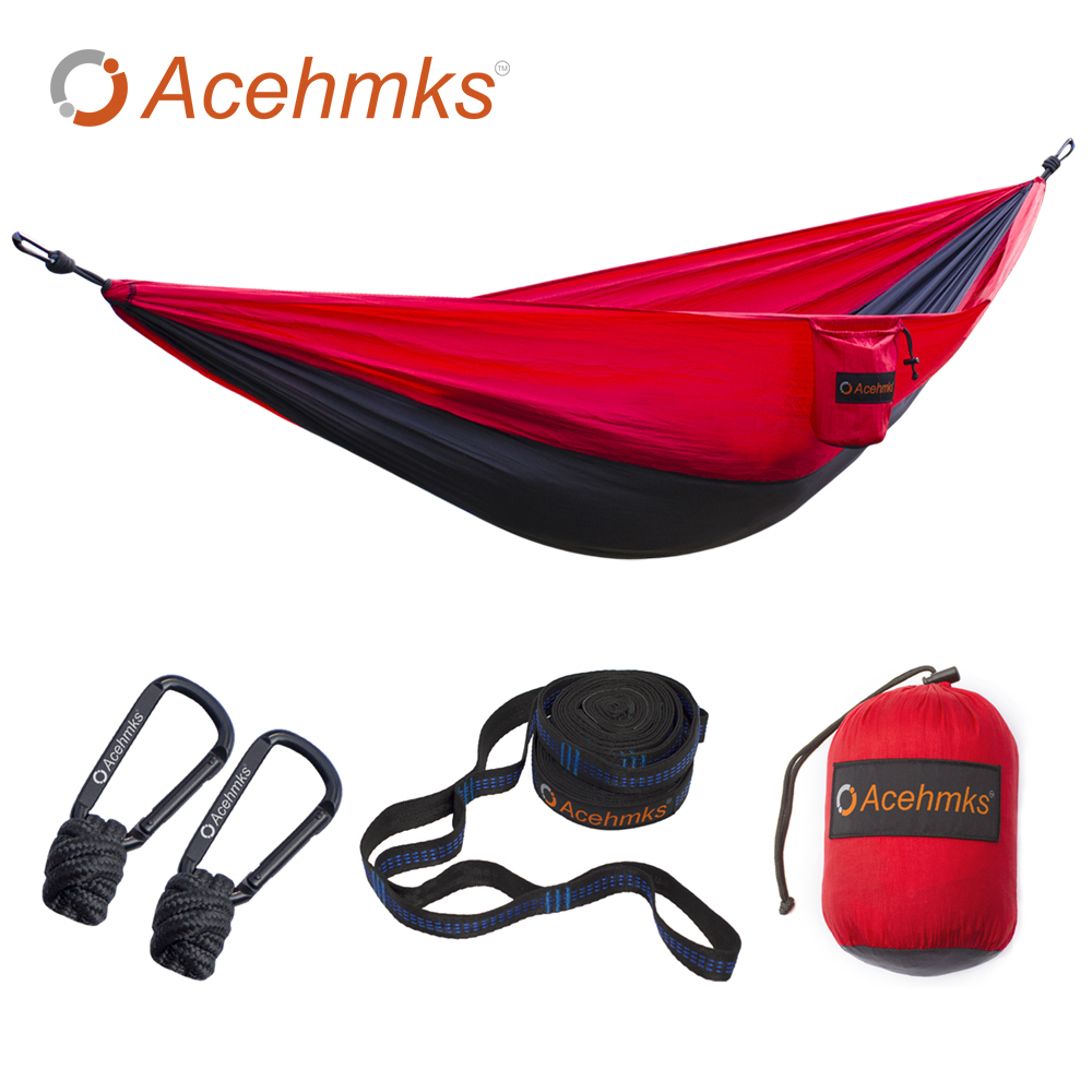 Acehmks Nylon Hammock Portable Folding Ultralight Parachute Camping Hammock Garden Swing Red Gray With 2 Tree Straps 270X140CM portable parachute hammock camping swing garden chair swing