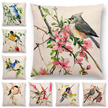 Watercolor Lovely Birds Cushion Cover Robin Tit Finch Hummingbird Goldfinch Sparrow Prints Pillow Case the goldfinch