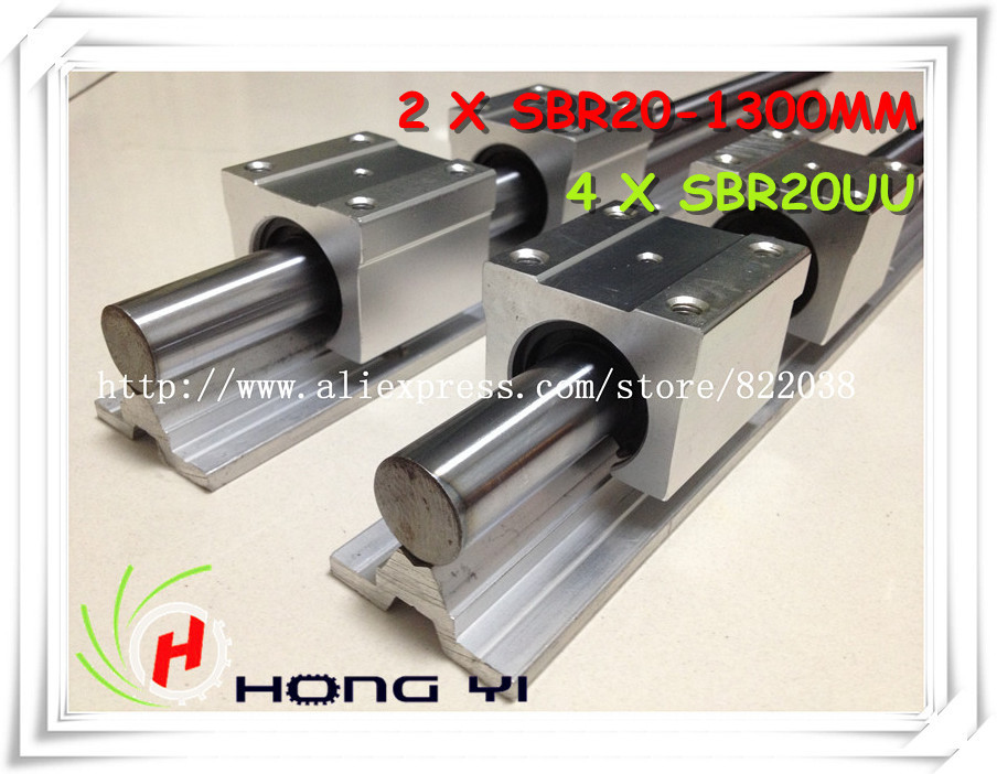 2pcs linear rail SBR20 L1300mm+4pcs SBR20UU linear open blocks for cnc router 3d printer