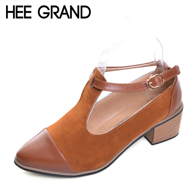 HEE GRAND Pointed Toe Pumps British Style Med Heels Patchwork T-Strap  Oxfords Shoes Woman Casual Vintage Pump Shoes XWD2469 739542f3dc1