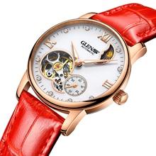 купить GLENAW Leather Strap Women Watch Tourbillon Waterproof Mechanical Lady Watch for Woman Wristwatch Relogio Feminino Montre Femme по цене 3725.5 рублей